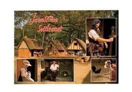 POSTCARD-JAMESTOWN SETTLEMENT- THE SETTLEMENT OF JAMESTOWN-FIRST DAY  IS... - $2.91