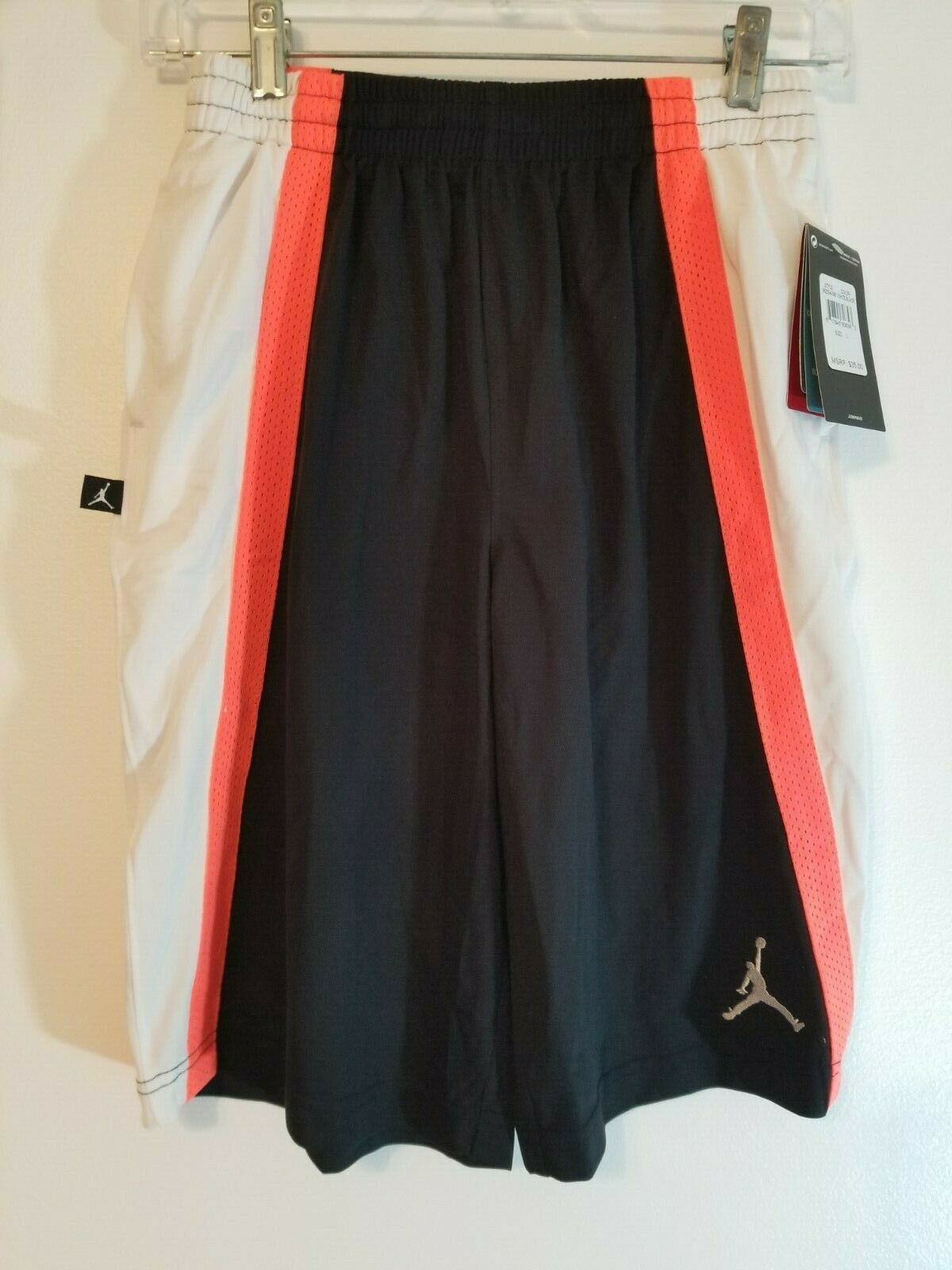 Primary image for Nike Air Jordan Baseline Youth Dri Fit Shorts White/Black Large $35 NEW Jumpman