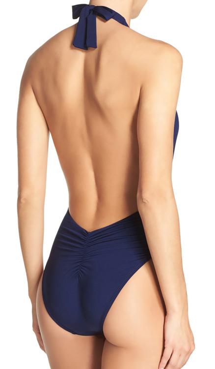 Trina Turk One Piece SwimsuitPlunge Halter High Cut Legs w/ Belt Buckle Navy