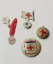 Vintage RED CROSS Pinback Lapel Fold over:  Feather, flag, Junior & I Serve - $14.95