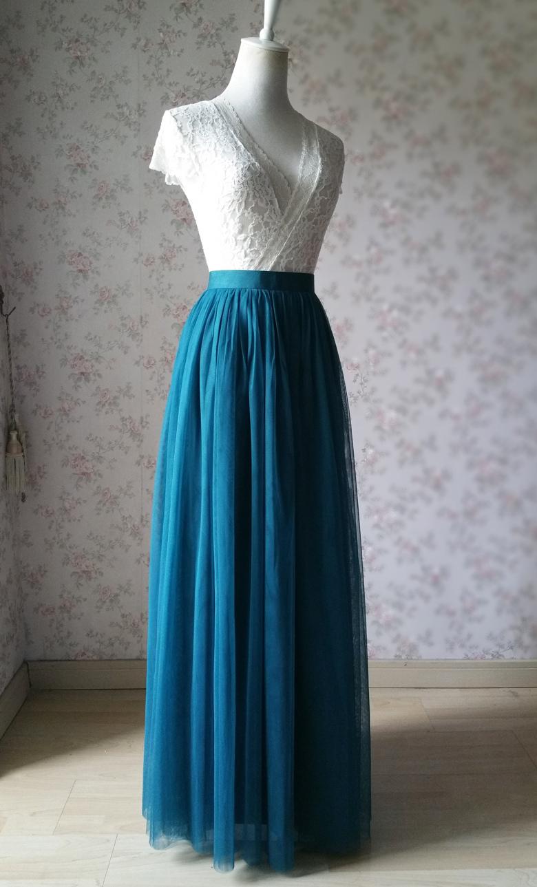 Long tulle skirt wedding green  59 3