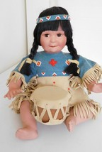 1992 Danbury Mint Song of the Sioux Porcelain Native American Indian w/ Drum - $14.99