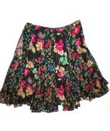 New Womens $125 Ralph Lauren Black Floral Skirt 2 Pink Green Blue Tan Fl... - $50.00