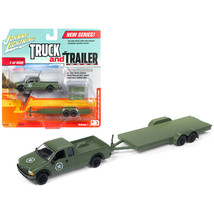 2004 Ford F-250 Army Green with Car Trailer Limited Edition to 4540 piec... - $26.64