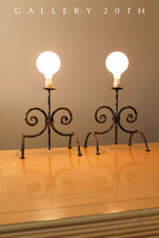 PAIR! PARZINGER MID CENTURY WROUGHT TORCHIERE ANDIRON STYLE LAMPS! 50 Vt... - £498.88 GBP