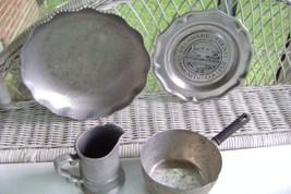 Forged Aluminum Repousse Serving Dish & Pewter Collectibles - $15.00