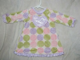 Giggle Moon Soft Minky Polka Dot Satin Swing Ruffle Dress Baby Girl 6-9 m - $14.84