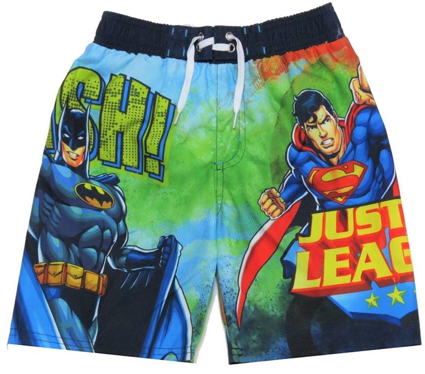 a5d02a6df4f48 JUSTICE LEAGUE BATMAN & SUPERMAN Bathing Suit Swim Trunks NWT Boys Sizes 4-7  $25