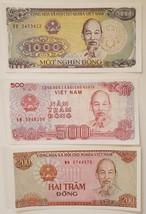 Lot of 3 Vietnam Dong Banknotes - 200, 500, 1000 - $2.95