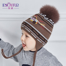 Winter Baby Hat Cap Pompom Warm Knitted Kids Beanie Wool Fur Knit Ball A... - $20.22+