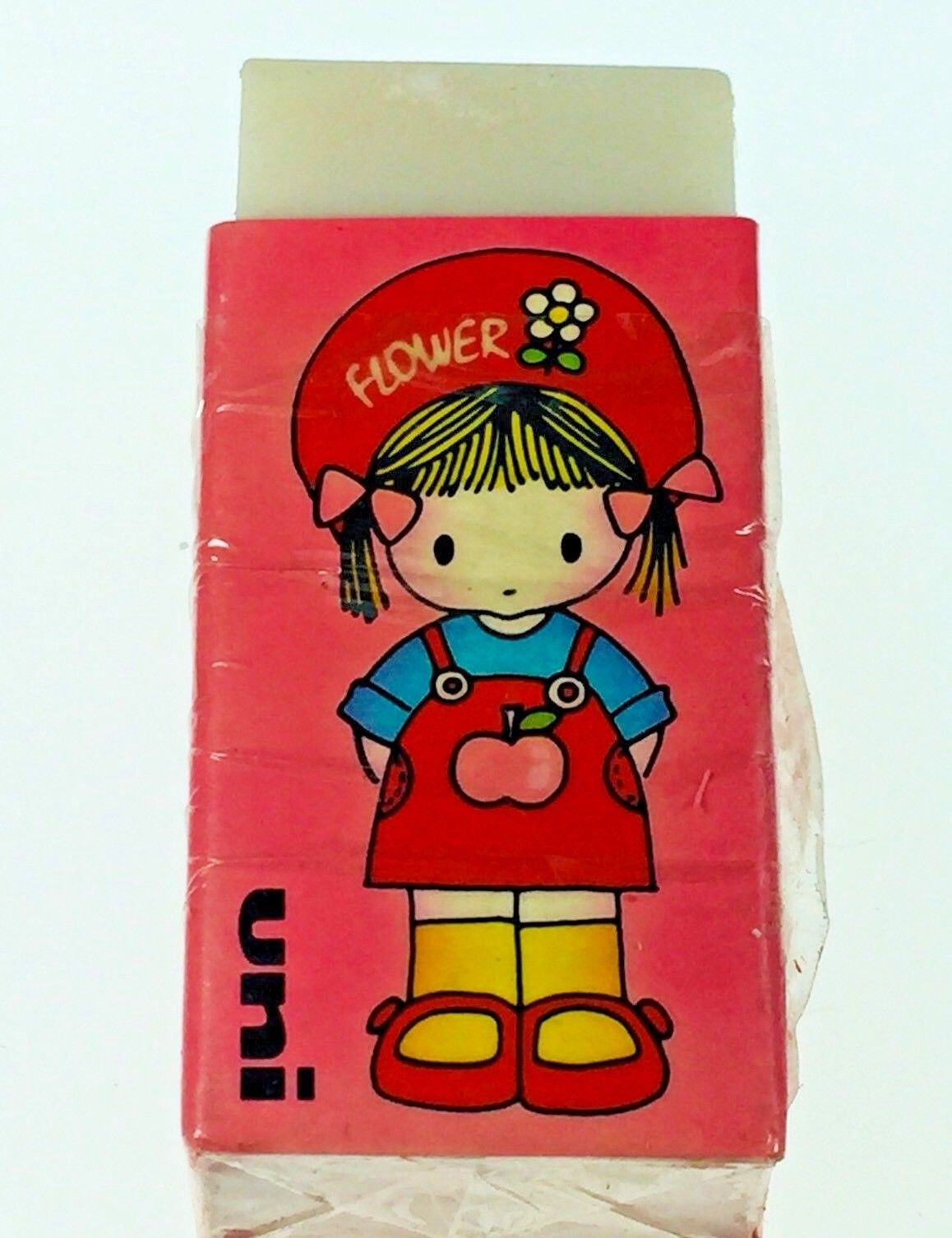 Primary image for Vintage1970's Mitsubishi Uni Pencil Eraser Girl W/Flower Hat Pink W/ White
