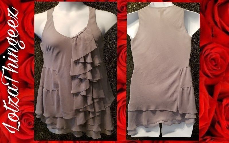 Bisou Bisou S Dressy Flattering Gray Top Sleeveless Ruffle Layers