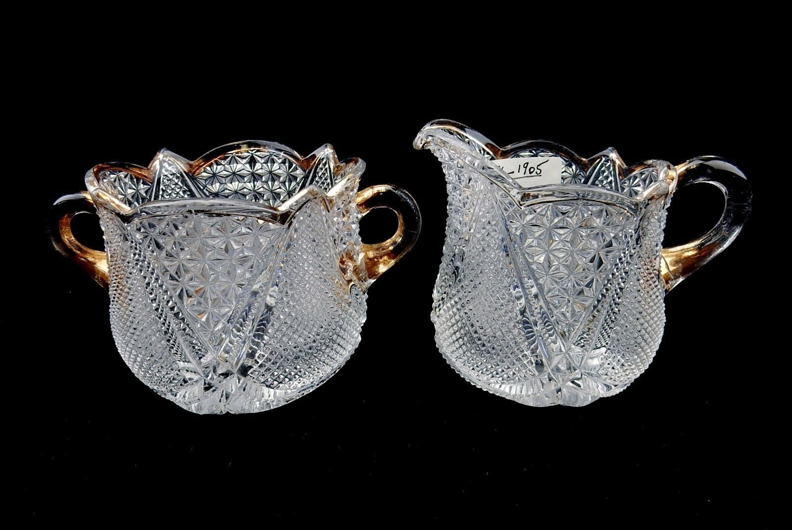 Primary image for Heisey Cream and Sugar Set, Fandango Pattern #1201, Very Early Heisey, Gold Trim