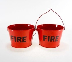 2 pc Little Red Fire Buckets Pails Ashtrays Butts Cigarettes Flame Urn v... - $16.99