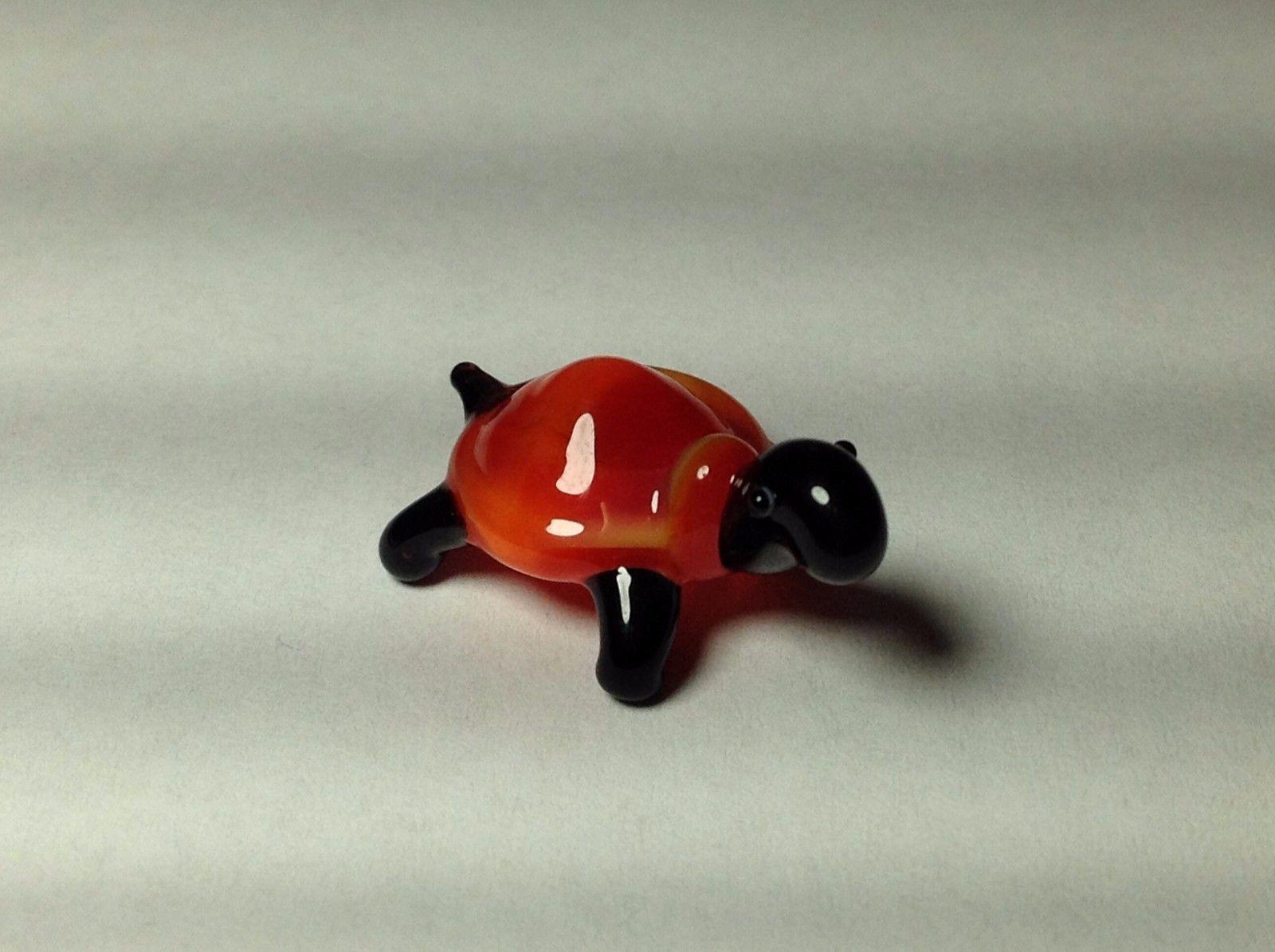 Miniature Glass orange and black turtle Handmade Blown Glass Made USA
