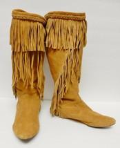 596f3c6968ed Sam Edelman Utah Boots Moccasubs Pull On Camel Suede Western Tribal Fringe  7.5 -  89.95