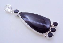 Botswana Agate-Black Onyx Silver Overlay Handmade Pendant 18 gr. f-279 _19 - $4.80