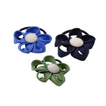 Set of 12 Hair Elastics Hair Bands Colorful Flora Pattern Hairbands