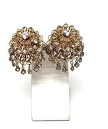 Clear Sparkling Rhinestone Drop Earrings on Gold Tone Clips Vintage - $11.69