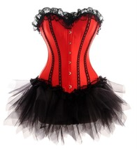 Red Satin Black Net Gothic Burlesque Waist Trainer Bustier Overbust Cors... - $89.09+