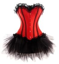 Red Satin Black Net Gothic Burlesque Waist Trainer Bustier Overbust Cors... - $89.09+