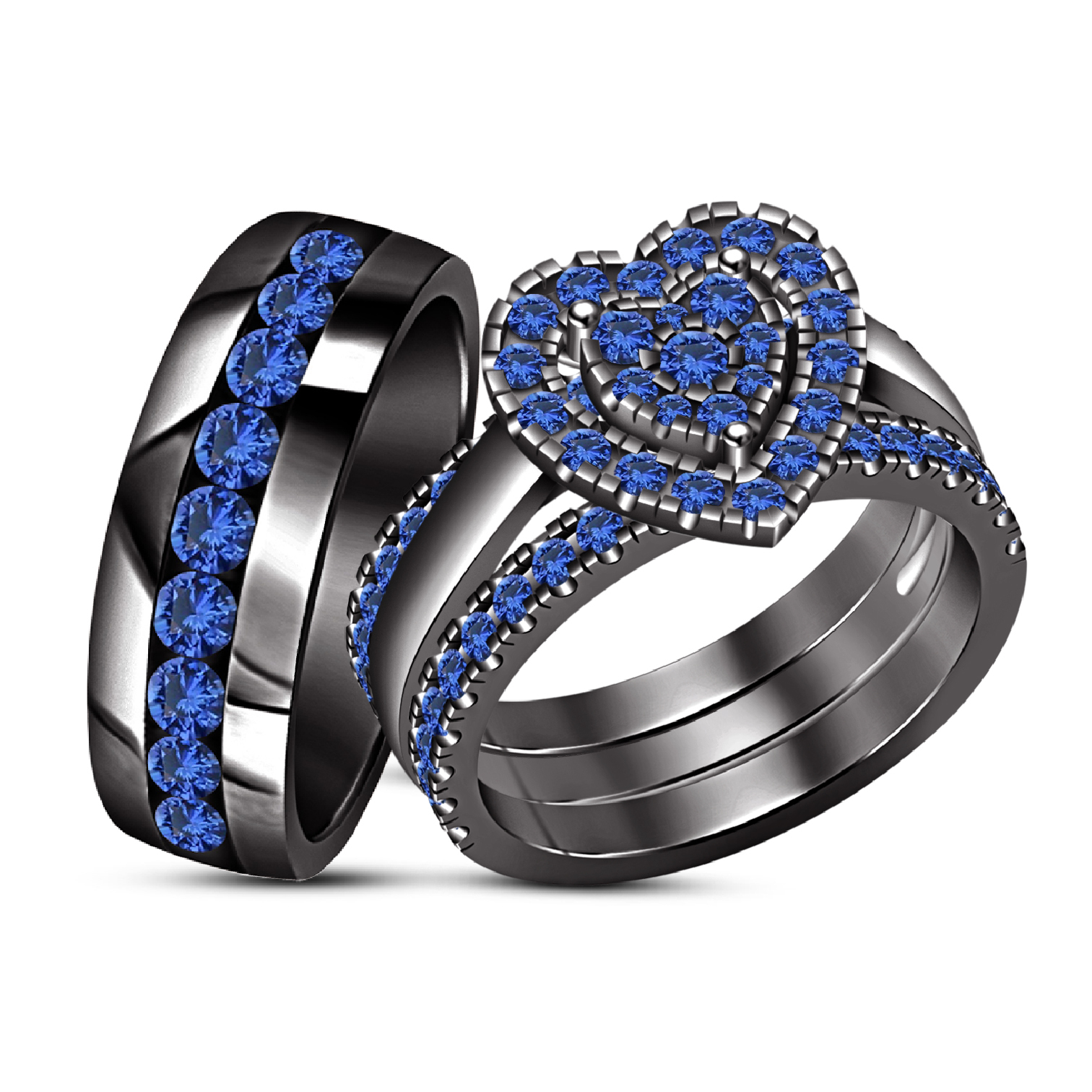 Blue Sapphire Black Gold Plated His & Her Engagement Ring Wedding Band Trio Set