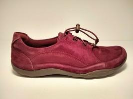 Clarks Women's Haley Rhea Sneaker, 6 US M, Burgundy Suede - $28.80