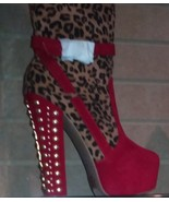 Red & Leopard Print  Platform Boots Zip Up Back & Gold Studs On Heel  Si... - $58.36