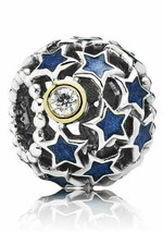 New Authentic Genuine Pandora Silver 14k Gold Night Sky Charm - 791371CZ - $25.23