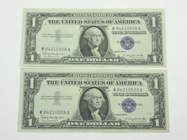 1957 B $1 Silver Certificates, Crisp, Consecutive Serials - $39.95