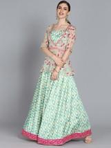 Indian/Pakistani Designer Beige And Sea Green Made to Measure Lehenga - €202,75 EUR