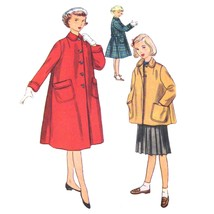 1950s Vintage Simplicity Sewing Pattern 4418 Girls Winter Coat Jacket 10 - $8.95