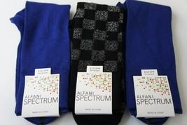 Alfani Spectrum Mens Socks Sz 7 - 12 Cobalt Blue Black Multi Color 3 Pairs Sock - $14.27