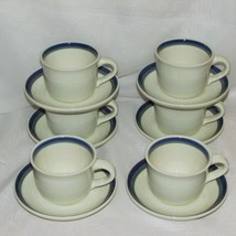 Pfaltzgraff Northwinds Coffee Cup & Saucer Lot 6 Stoneware Blue Green Bands Tea - $24.99