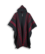 LLAMA WOOL MENS WOMANS UNISEX HOODED PONCHO PULLOVER SWEATER JACKET ALL ... - £54.66 GBP