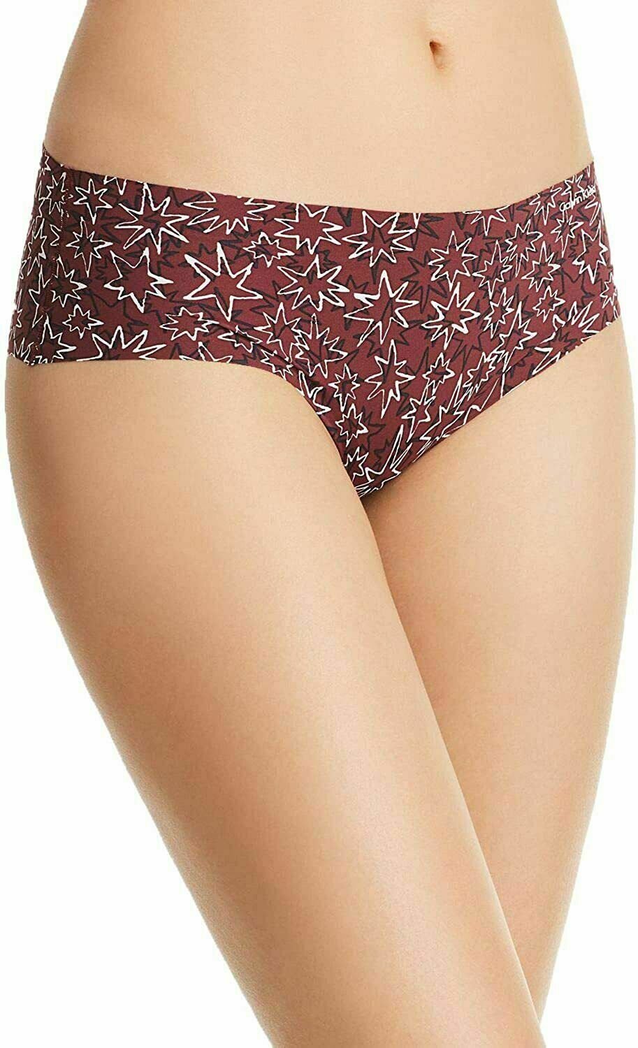 Calvin Klein Burgundy Wine Invisibles Hipster In Layered Starburst D3508-601 XS