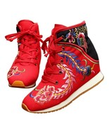 Sports Boots Vintage Beijing Cloth Shoes Embroidered Boots red 35 - $38.99