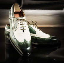 Handmade Men's White & Green Lace Up Wing Tip Dress/Formal Leather Oxford Shoes image 3