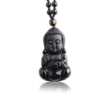 Natural Black Obsidian Carved Baby Buddha Pendant With Amulet Lucky Bead... - $13.13
