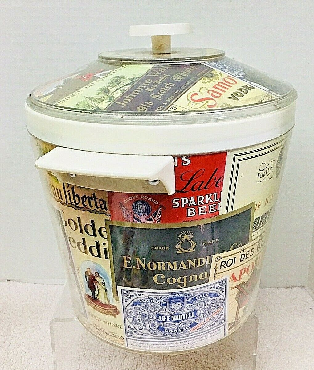 Primary image for Vintage Ice Bucket w/ Liquor Label Design Great Shape