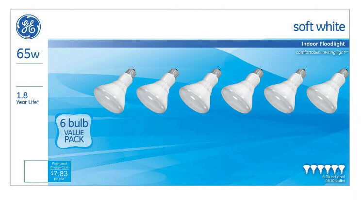 GE Lighting 41936 Reflector R30 Indoor Floodlight, Soft White, 65W, 6-Pack - $14.75