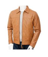 QASTAN Men's New Tan Latest Fashion Biker Sheep Leather Jacket QMJ100 - $149.00