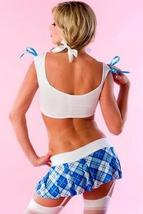 Sexy Blue White Plaid School Girl Cosplay Costume image 3