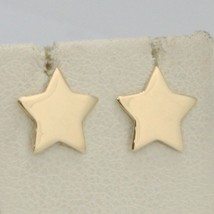 SOLID 18K YELLOW GOLD EARRINGS FLAT STAR, SHINY, SMOOTH, 10 MM, MADE IN ITALY image 1