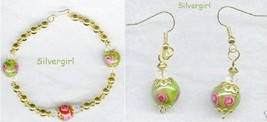 Floral Green Pink Red Lampwork Bracelet and Earring Set - $17.99