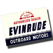 Authorized Dealer Evinrude Outboard Sign Reproduction 8x12 Inch Aluminum Sign - $14.80