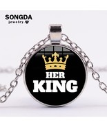 SONGDA Her King His Queen Statement Necklace Fashion Gold Color Crown Pr... - $8.00