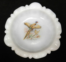 Ashtray Fire King White Milk Glass Ring Necked Pheasant Game Bird Vintage - $24.47