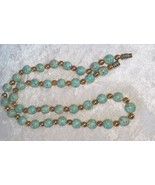 Vintage necklace robins egg blue and gold tone beads 19 inches very pret... - $18.00