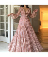 Newly Sequin V-Neck Long Prom Dress With Sleeve Women Party Gowns A Line... - $34.11
